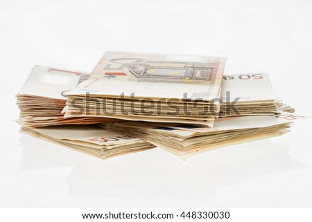Fifty euro heap. Banknotes pile. Money bunch stack. Pack of euros isolated on white background