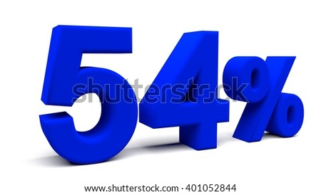 Fifty four percents 3D text, with big fonts isolated on white background. 3D rendering.