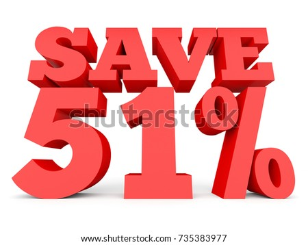 Fifty one percent off. Discount 51 %. 3D illustration on white background.