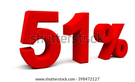 Fifty one percents 3D text, with big fonts isolated on white background. 3D rendering.