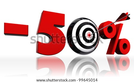 fifty per cent 50% red discount symbol with conceptual target and arrow on white background.clipping path included