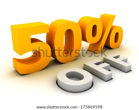 Fifty percent off. - stock photo