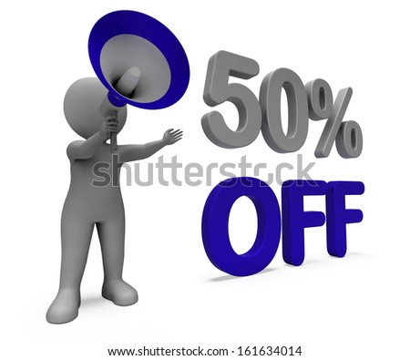 Fifty Percent Off Character Meaning Discount Price Or Sale 50%