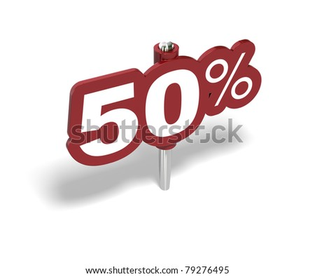 fifty percent red sign over a white background - stock photo