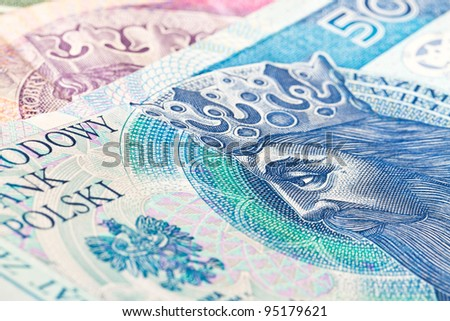Fifty Polish zloty banknote close up - stock photo