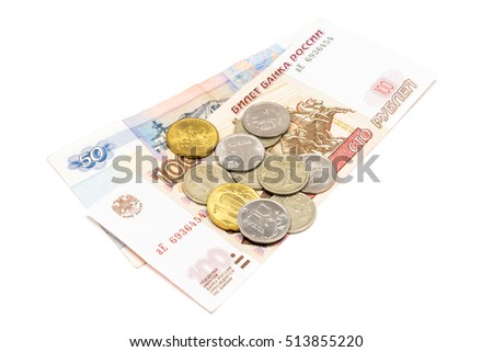 Fifty rubles and one hundred rubbles banknote and one and ten rubbles coins isolated on white background