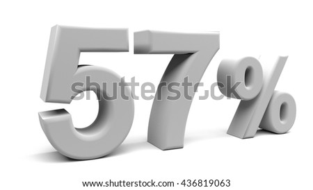 Fifty seven percents 3D text, with big fonts isolated on white background. 3D rendering.