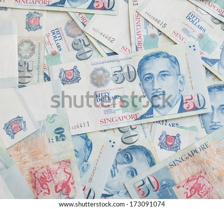 Fifty singapore dollars background - stock photo