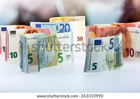 Fifty, twenty, ten and five euro banknotes - stock photo