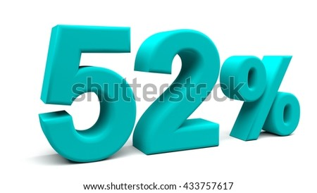 Fifty two percents 3D text, with big fonts isolated on white background. 3D rendering.