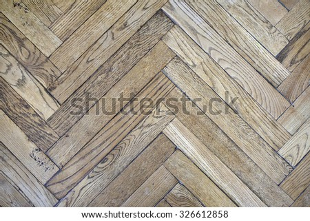 Fifty years old parquet made of oak wood.