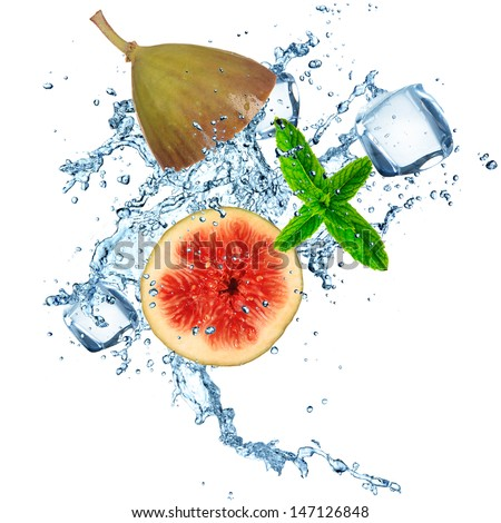 Fig in water splash over white background - stock photo
