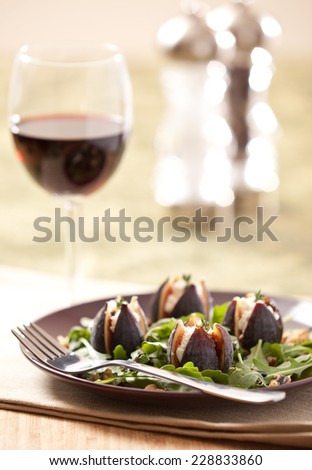 Fig Salad with Goats Cheese and a Glass of Wine