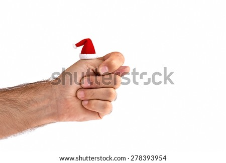 Fig sign in Christmas Santa Hat isolated on white - stock photo