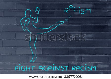 fight against negative concepts: person kicking away the word racism