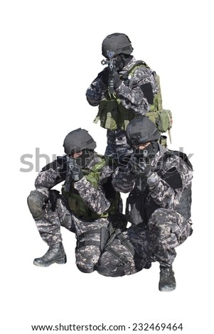 Fight against terrorism, Special Forces soldier, detail aiming the lens, police swat, isolated on white - stock photo
