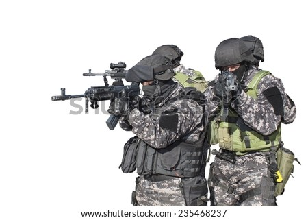 Fight against terrorism, Special Forces soldier, detail aiming the lens, police swat, isolated on white