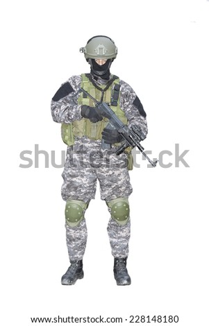 Fight against terrorism, Special Forces soldier, with assault rifle, police swat, isolated on white - stock photo