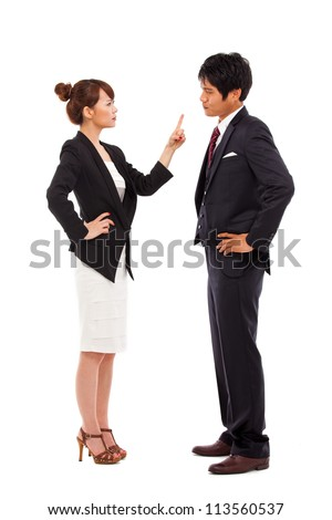 Fight business couple isolated on white background.