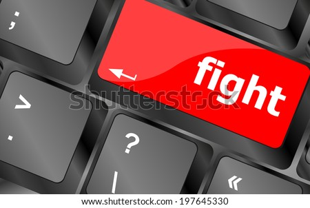 fight button on computer pc keyboard key - stock photo