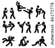Fight Fighter Muay Thai Boxing Karate Taekwondo Wrestling Kick Punch Grab Throw People Icon Sign Symbol Pictogram - stock vector