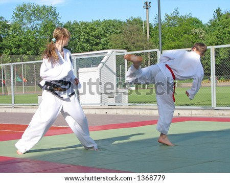fight in taekwon-do - stock photo