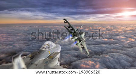 fight over the clouds - stock photo