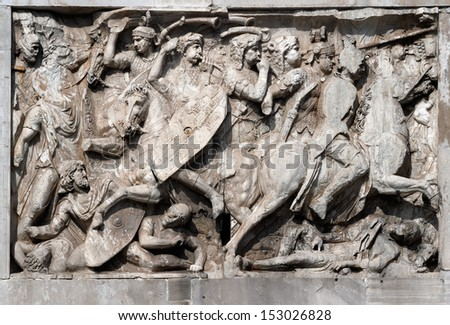 Fight scene on a relief of the Arch of Constantine, Rome, Italy - stock photo