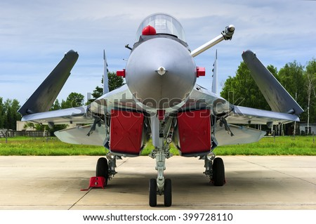 Fighter-bomber jet, military multifunction plane with folded wings for using on aircraft carrier deck, modern army, navy aviation and aerospace industry, supersonic air force   - stock photo
