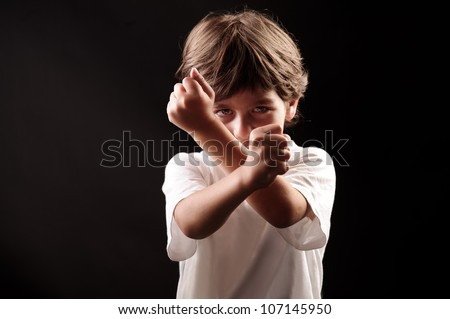 fighter boy ready to fight - stock photo