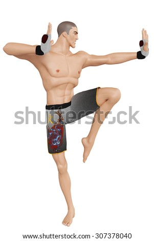 fighter cartoon karate pose - stock photo