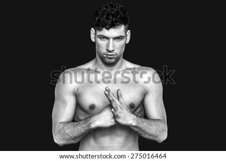Fighter in black and white on a black background