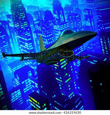 Fighter jet flying against a blue sky, 3d illustration - stock photo