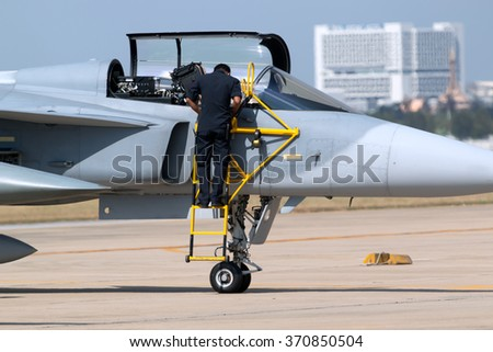 Fighter jet in airport - stock photo