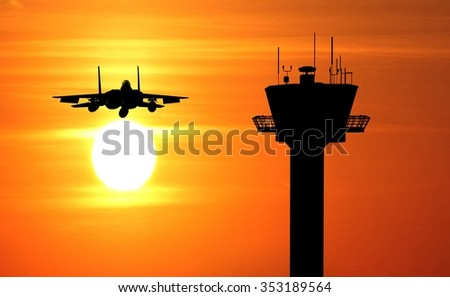fighter jet with tower control - stock photo