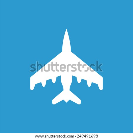 fighter outline icon, isolated, white on the blue background. Exclusive Symbols  - stock photo