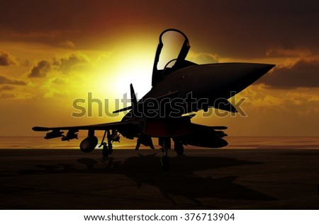 Fighter plane at sunset on carrier ship - stock photo