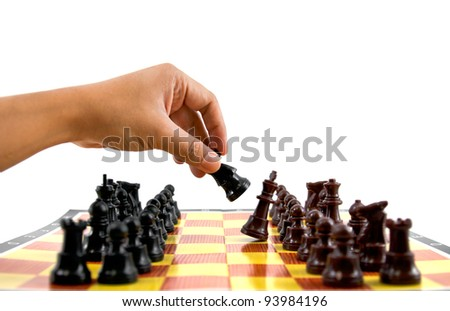 fighting between brown and black army on chess board - stock photo