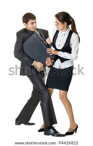 Fighting for a briefcase, the concept of competition, isolated on white - stock photo