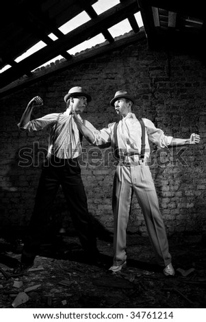 fighting gangsters - stock photo