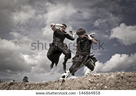 fighting of two athletic men