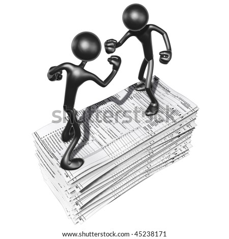 Fighting On Tax Forms - stock photo