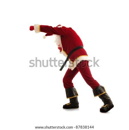 Fighting Santa isolated over white - stock photo