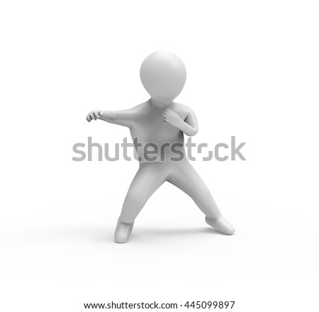 Fighting Stance, 3D Human Character. 3D illustration