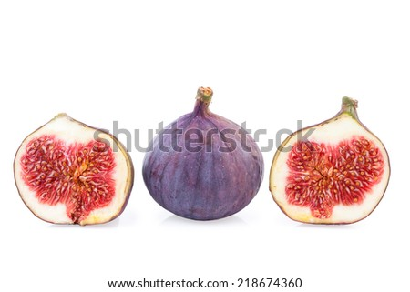 Figs Fruit whole and two halves - stock photo