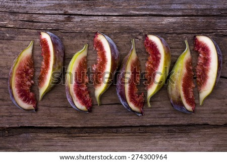 Figs sliced arranged artistically top view  - stock photo