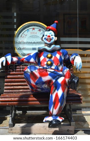 FIGUERAS - JUNE 24: Clown statue outside the Catalan town of Figueres, Spain on June 24, 2013. Figueres is known as the birthplace of surrealist painter Salvador Dali.