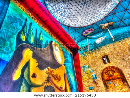 FIGUERES, SPAIN -AUG 26, 2009: Details from the interior of the famous museum - theater of Salvador Dali in Figueres, Spain on Aug 26, 2009. HDR processed - stock photo