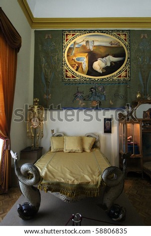 FIGUERES, SPAIN - JULY 27: Dali's bedroom in Dali Museum in Figueres, Spain at July 27, 2010. Museum is opened on September 28, 1974 and houses largest collection of works by Salvador Dali. - stock photo