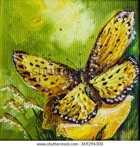 Figure butterflies on a green background - stock photo